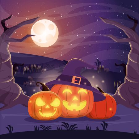 halloween dark scene with pumpkins vector illustration design Imagens - 134492251