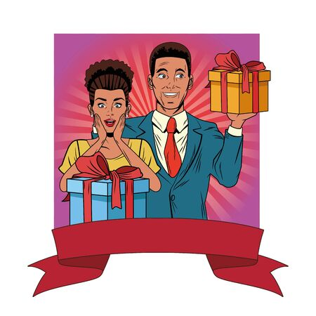 afroamerican couple avatar with gift box profile picture cartoon character portrait with colorful square frame background with ribbon banner vector illustration graphic design