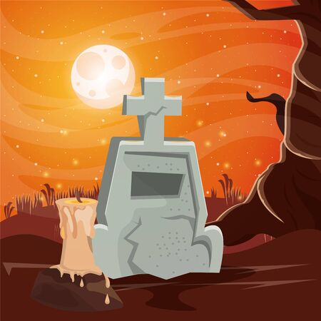 halloween dark scene with cemetery vector illustration design