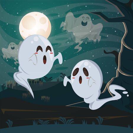 halloween dark scene with ghosts vector illustration design Ilustração