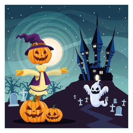 halloween dark scene with scarecrow pumpkin vector illustration design Ilustração