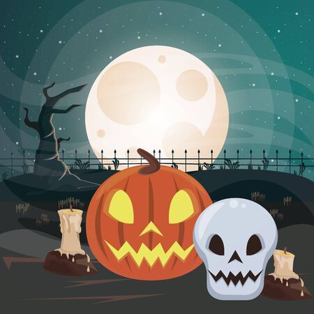 halloween dark scene with pumpkin vector illustration design Imagens - 134492295