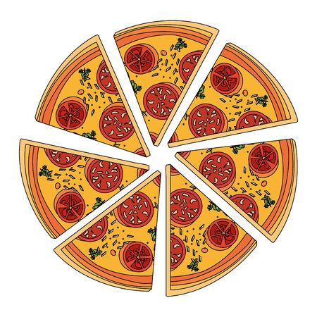 pepperoni pizza slices over white background, vector illustration
