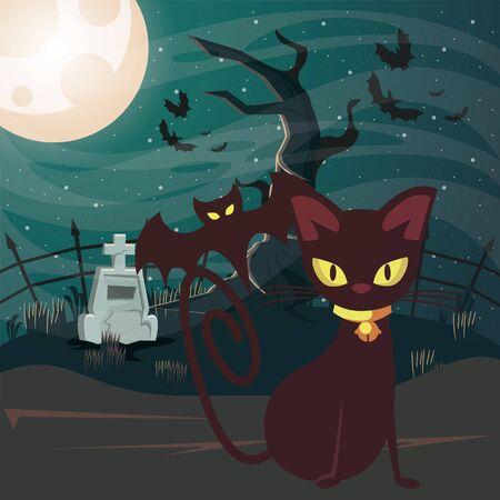 halloween dark scene with black cat vector illustration design Ilustração