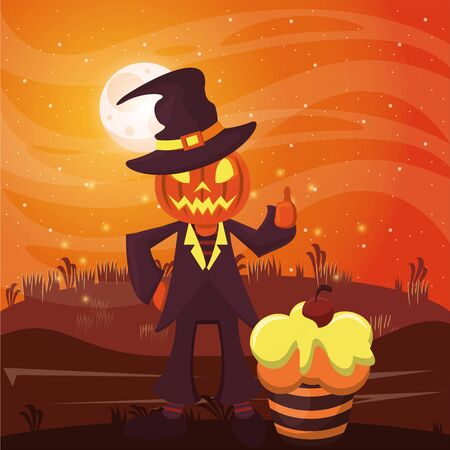 halloween dark scene with person disguised pumpkin vector illustration design Imagens - 134493184