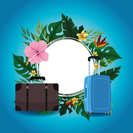 Summer blank round frame with travel cartoons and tropical flowers vector illustration graphic design