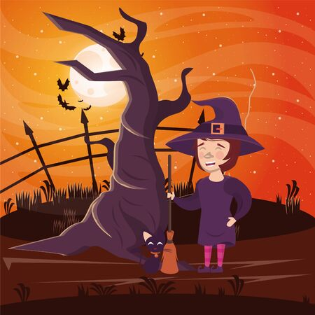 halloween dark scene with woman disguised witch vector illustration design