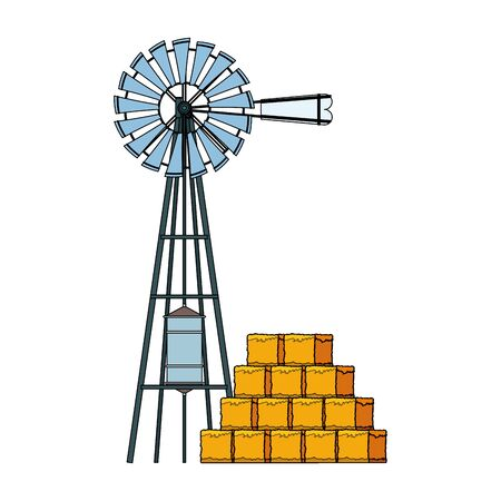 wind water pump and bales of hay icon over white background, colorful design. vector illustration