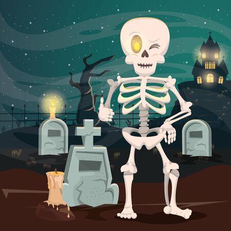 halloween dark scene with skeleton in cemetery vector illustration design Imagens - 134493626