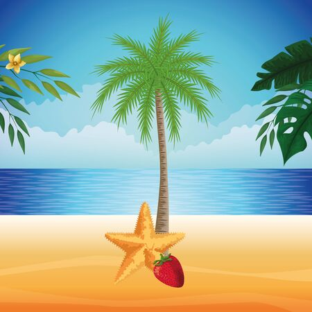 summer beach and vacation with starfish, tropical fruit and palm icon cartoon over the beach with seascape vector illustration graphic design