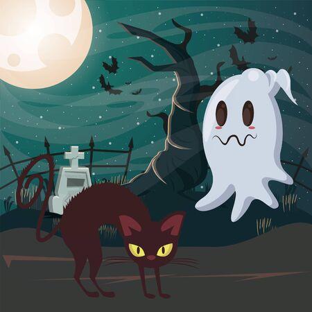 halloween dark scene with black cat and ghost vector illustration design