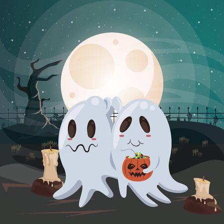 halloween dark scene with ghosts vector illustration design Imagens - 134494542
