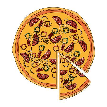 Vista superior del icono de pizza italiana sobre fondo blanco, ilustración vectorial