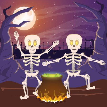 halloween dark scene with cauldron and skeletons vector illustration design Imagens - 134494702