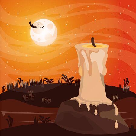 halloween dark scene with candle in dark night vector illustration design