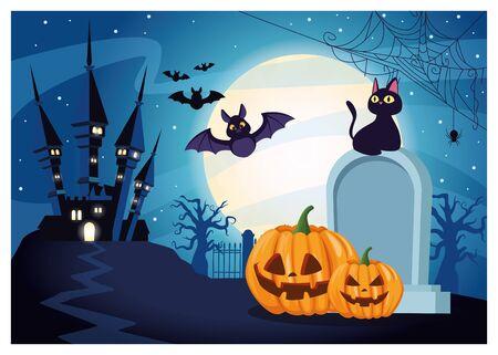 halloween dark scene with pumpkin and graveyard vector illustration design