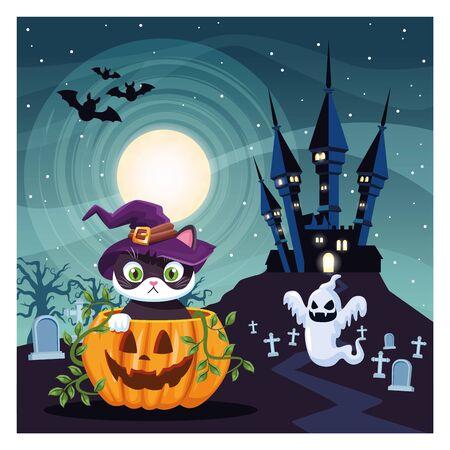 halloween dark scene with pumpkin and cat in cemetery vector illustration design Ilustração