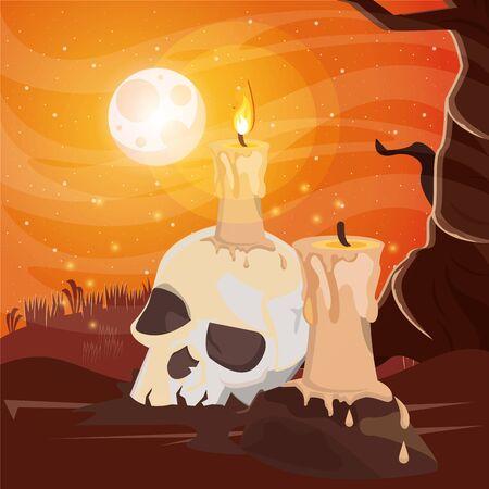 halloween dark scene with skull head vector illustration design