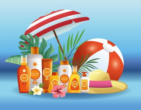 Solar protection bottles products for summer with umbrella and ball on blue background vector illustration graphic design Illustration
