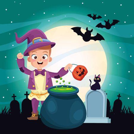 halloween dark scene with kid magician disguise vector illustration design