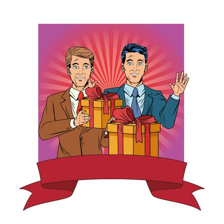 men avatar man with hand up and wearing suit holding a gift boxes profile picture cartoon character portrait with colorful