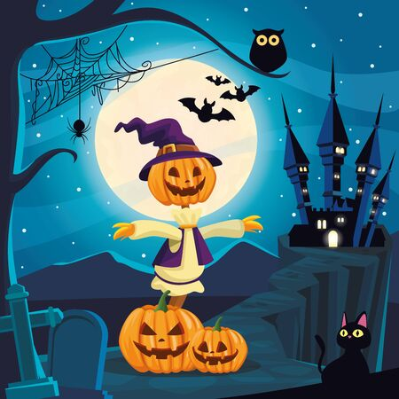 halloween dark scene with scarecrow and pumpkins vector illustration design Ilustração