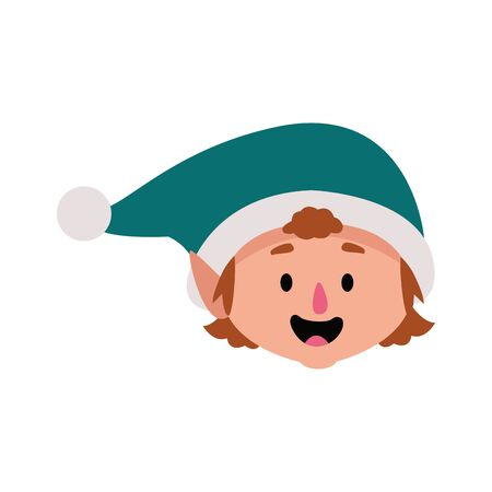 christmas elf laughing icon over white background, vector illustration
