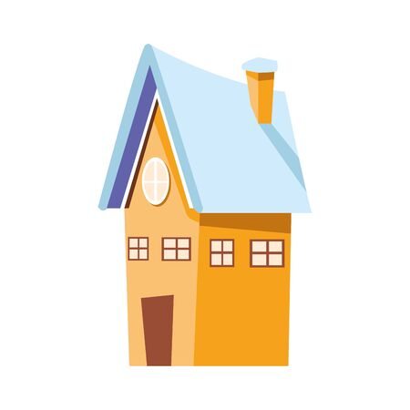 yellow house icon over white background, vector illustration