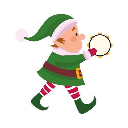 chirstmas elf playing a tambourine over white background, vector illustration Ilustração