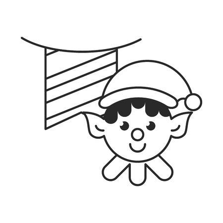 cute santa helper christmas character vector illustration design
