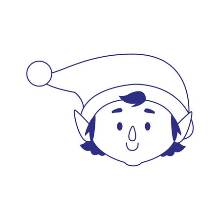 christmas elf face icon over white background, vector illustration