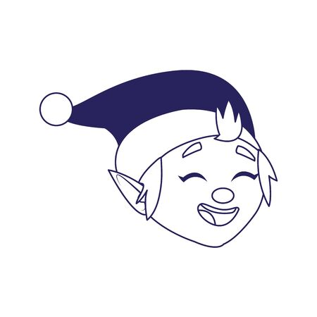 cartoon santas helper face icon over white background, vector illustration