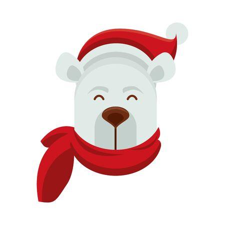 cute polar bear with scarf character vector illustration design