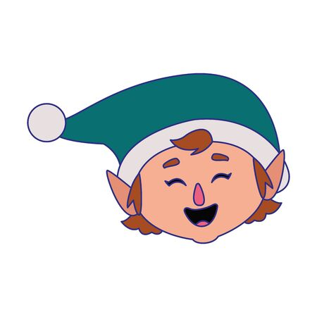 cartoon happy christmas elf over white background, vector illustration