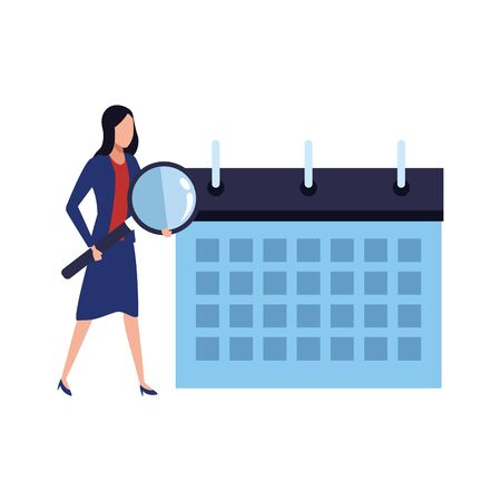 planner calendar with business woman holding a magnifying glass over white background, vector illustration