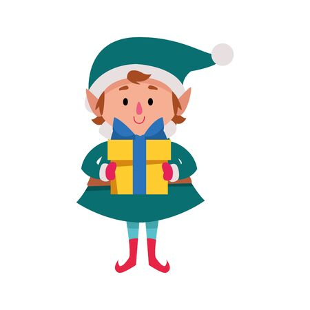 cartoon christmas elf with gift box icon over white background, vector illustration