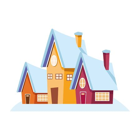 traditional houses icon over white background, vector illustration