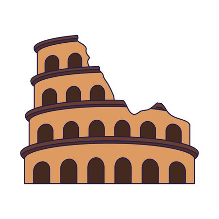 Roman colosseum icon over white background, vector illustration Archivio Fotografico - 134352313