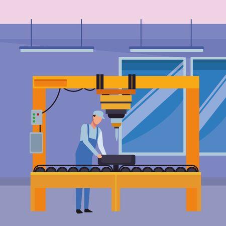 car service manufacturing worker assembling cartoon vector illustration graphic design
