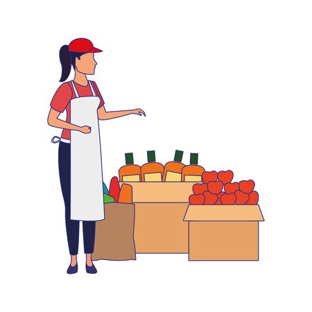 supermarket woman worker next to boxes with groceries over white background, colorful design. vector illustration