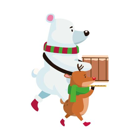 polar bear and deer playing musical instruments over white background, vector illustration