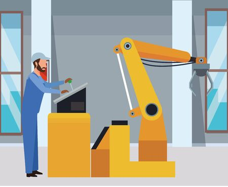 industry factory manufacturing coworker with heavy machine cartoon vector illustration graphic design Ilustrace
