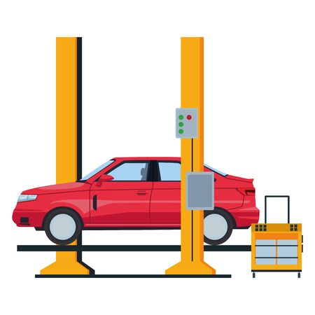 industry car manufacturing assembly car artoon vector illustration graphic design