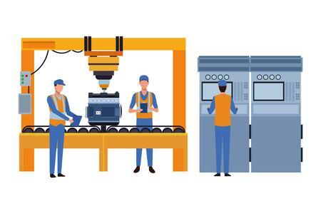industry car manufacturing engine assembly cartoon vector illustration graphic design Standard-Bild - 134352816