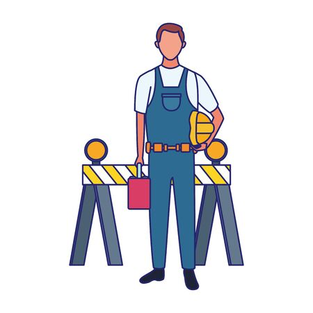 cartoon repair man worker and safety barrier over white background, vector illustration