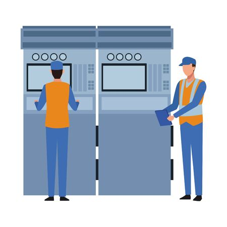 industry manufacturing workers manipulating machine cartoon vector illustration graphic design