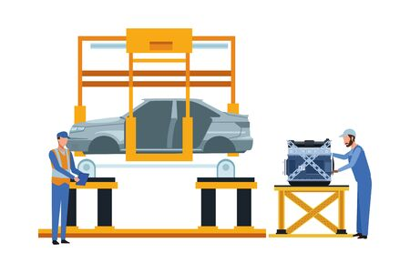 industry car manufacturing assembly car artoon vector illustration graphic design Standard-Bild - 134353143