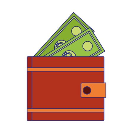 Bills inside wallet design, Money finance commerce market payment invest and buy theme Vector illustration