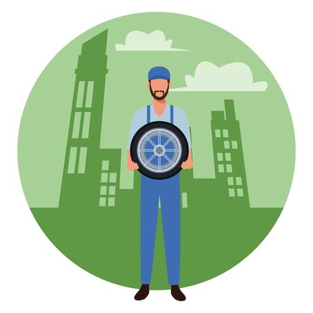 industry car manufacturing worker holding wheel cartoon vector illustration graphic design