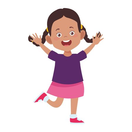 cartoon excited girl icon over white background, vector illustration
